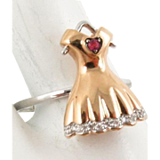 European Unique Art Deco Rare 18 Karat Ladies Dress Ring with Diamonds and a Ruby Heart. Size 6.25