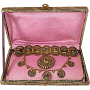 Rare Cairo Made Egyptian Revival Jewelry Set. 800 Silver Gilt & Enameled Brooch, Bracelet & Necklace in Original Box.