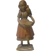 Charming Vintage ANRI carving. Beautifully detailed Young Girl with a Bird on her Shoulder.