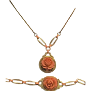 Rare Early Victorian Gilt Sterling Silver Carved Coral Necklace and Bracelet Set. Absolutely Stunning!