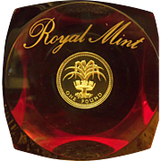 Royal Mint UK 1 Pound Paperweight in Acrylic. Set of 3