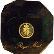 Large Royal Mint UK 1 Pound Paperweight in Acrylic