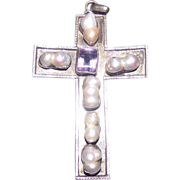 Large Art Nouveau .925 Silver Hand Made Cross. Amethyst & River Pearls