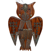 Antique Wood & Metal Wooden Owl Wall carving. Early 1900's Folk Art