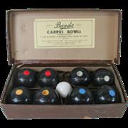Vintage 1940's Banda England Bakelite Carpet Bowls Set (8)