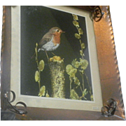 Arts & Crafts Nelson Hand Hammered Copper Frame with Stunning Robin Picture
