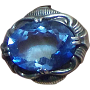Art Deco 800 Silver Blue Art Glass Cocktail Ring