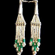 Vintage 1970s Native American Sterling Silver Malachite Bead Liquid Silver Earrings