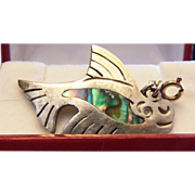 Melicio Rodriguez TAXCO ABALONE Whale Pendant 925 Sterling