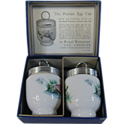 Pristine Pair of Royal Worcester Egg Coddlers with a Bird Pattern
