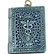 Vintage WWII Era Bookstyle Locket Medical Insignia Caduceus Silver Metal