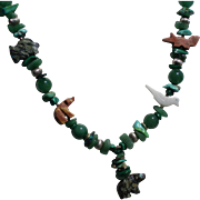 Stunning Zuni Sterling Fetish Necklace with a Gorgeous Array of Semi-Precious Stones plus turtle, bears, bird, fox, and more!
