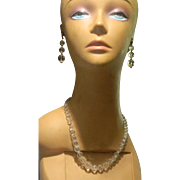 Exquisite Faceted Clear Quartz Crystal Beads Necklace and Earrings from the 1920's Era