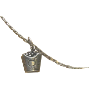 Unusual Antique Sterling Silver Coal Scuttle Necklace with Chain