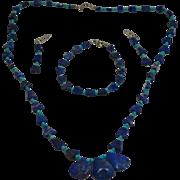 Rare 40's Lapis Lazuli Turquoise Bead Chandelier Drop Earrings Necklace & Bracelet