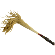 Vintage African or Mali Natural Horse Hair Fly Swatter with Carved Native Face. 26 inches long.