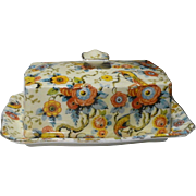 Royal Winton Exotic Bird Chintz Butter Dish--early Backstamp