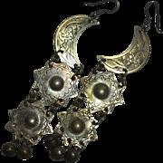 Moon and Stars Scheherazade Mexico Silver circa. 1970 Hook Pendant Earrings