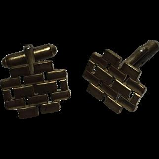 Cufflinks Set Brass Anson Jewelry Box Chain Pattern circa. 1970