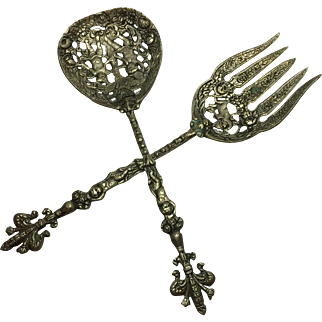 Antique Ornamental Pewter Fork and Serving Spoon French Estate Pre WWI