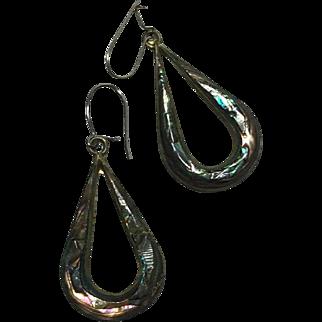 Abalone Alpaca Silver Tear-drop Hook Earrings Mexico late 1930