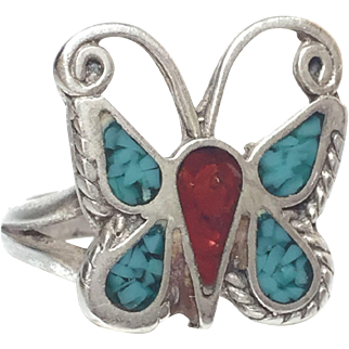 Vintage Native American Sterling Turquoise Coral Butterfly Ring