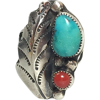 Native American Old Pawn Sterling Turquoise Coral Feather Ring