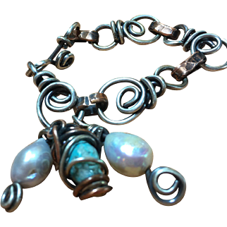 Mixed Metals Genuine Turquoise and Tennessee Pearls Link Bracelet