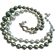 Japan Two Rows Pearl-like Beads Necklace circa. 1950