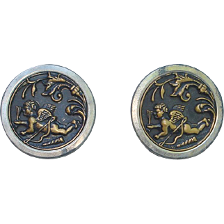 "set of 2 Picture Buttons ""Cherub"" design, 1 1/2"""