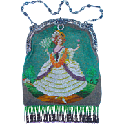 "Figural / Scenic Beaded Purse, ""Lady holding a Fan and Flower"" tiny beads, rare design"