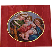 "fine Beaded picture of ""Raphael's painting ""Madonna della Sedia"""