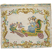 "SABLE beaded Purse, pocket or envelope purse , depicting ""goodess Juno on her peacock chariot"",  flowers on other side.  9 1/2"" x 8 1/2"""