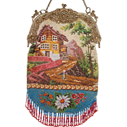 Figural / Scenic Beaded Purse, Alpine scene with Chalet and Lady, great colors and frame