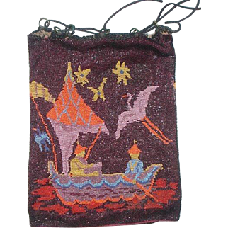 Figural / Scenic Beaded Purse, Asian scene, original drawstring