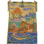 Figural / Scenic Beaded Purse, Asian scene, jeweled frame