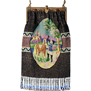 "Figural / Scenic Beaded Purse, ""Horse and Rider in periode costume"" jeweled fram, very large purse, small beads"