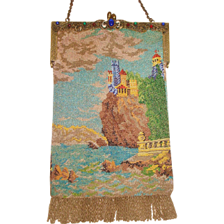 Scenic Beaded Purse , Castle on hill, ocean , jeweled frame