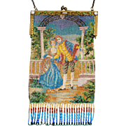 Scenic / Figural Beaded Purse, courting couple, jeweled frame, colorful