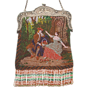 Scenic / Figural Beaded Purse, courting couple