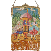 Figural fully Beaded Purse. Courting Couple with Gazebo