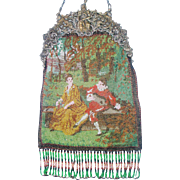 """Figural / Scenic Beaded Purse, """"courting couple"""" , figural silver frame """"Zeus"""""""