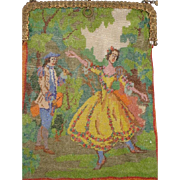 Figural fully Beaded Purse. very large purse, dancing lady