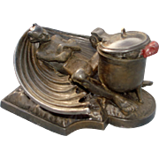 DEVIL inkwell, metal, very unusual and rare