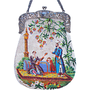 Figural / Scenic Beaded Purse, 2 different scenes, amazing detail, family in exotic costumes , floral, very old ca. 1840