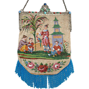 Figural / Scenic Beaded Purse, exotic scene of family, children, parrot, building, flowers