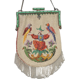 "Figural / Scenic Beaded Purse, ""exotic scene, asian man holding two parrots"", jeweled frame"