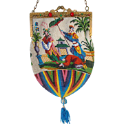 Figural / Scening Beaded Purse, 2 different scenes, exotic scene , 2 different sides, German writing