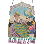 "Scenic / Figural Beaded Purse, ""Fairy tale princess / queen with Parrot"" , great detail"