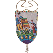 """Scenic / Figural Beaded Purse, jeweled frame, """"organ grinder"""" scene with two children and dog, very old"""